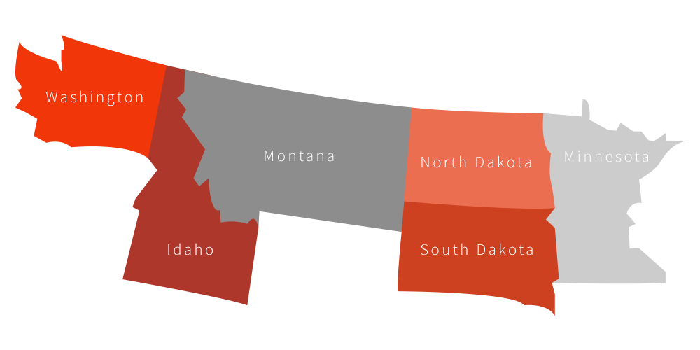 Washington-Montana-North-Dakota-Minnesota-South-Dakota-Idaho